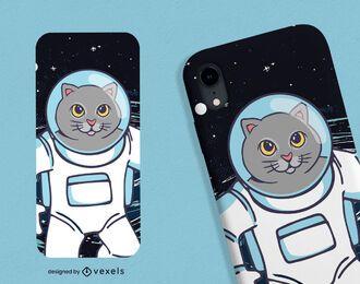 Diseño de caja de teléfono gato astronauta
