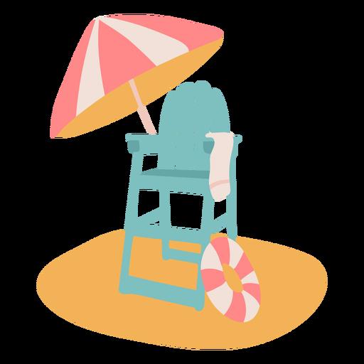 Lifeguard chair in the beach flat