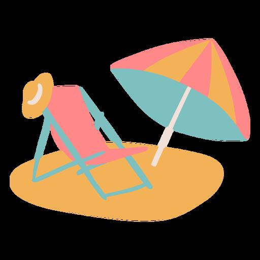 Simple beach chair with umbrella