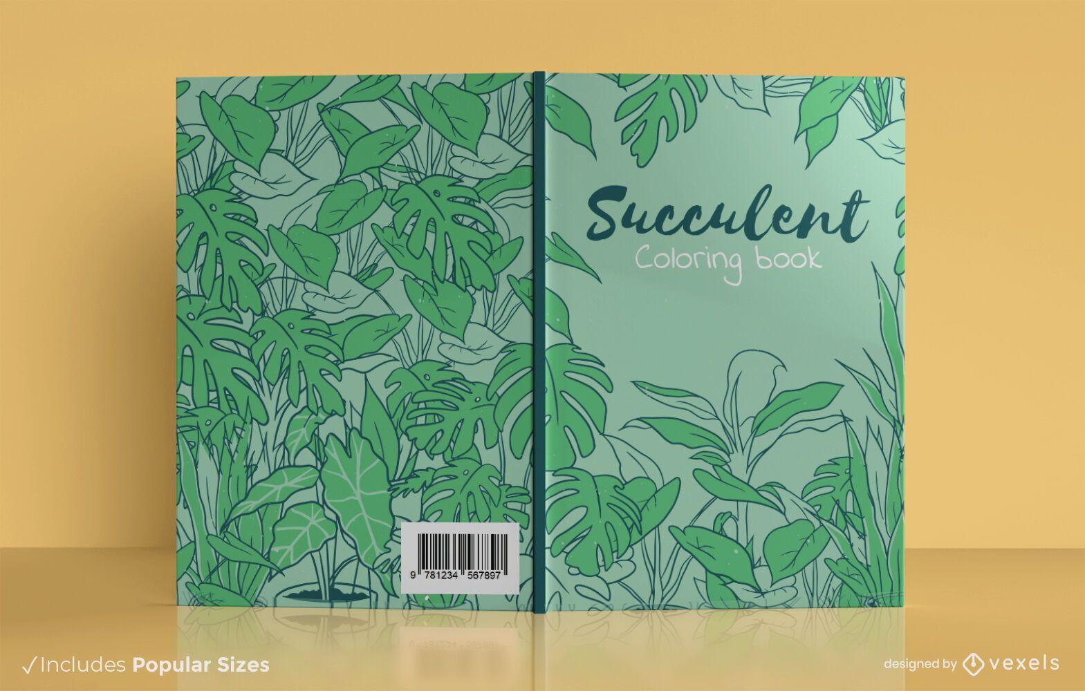 Design de capa de livro para colorir suculento
