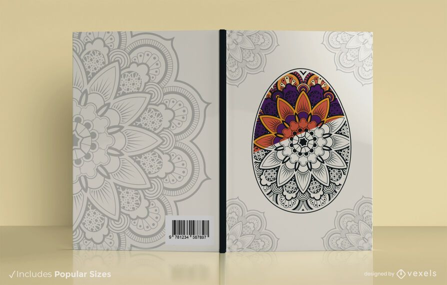 Mandala easter egg book cover design