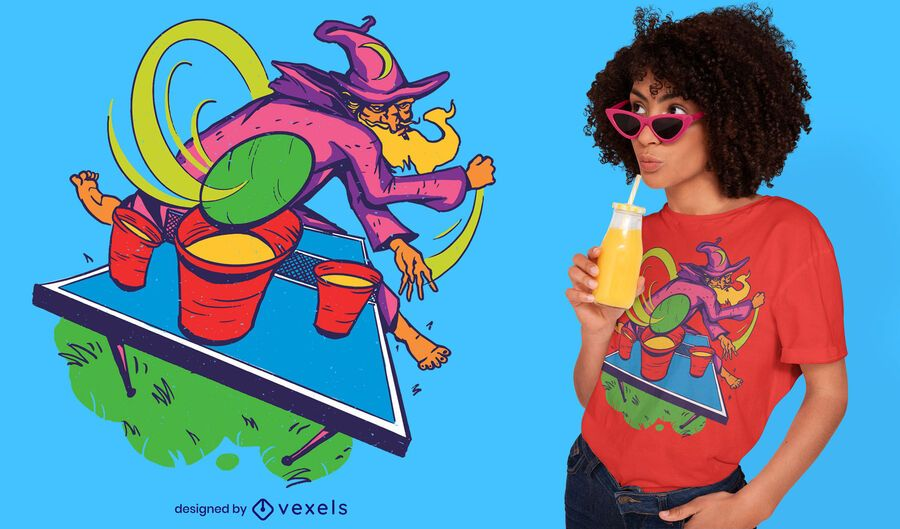 Wizard playing beer pong t-shirt design