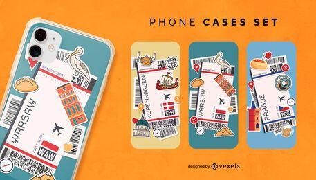 Conjunto de capa de telefone para bilhetes de embarque