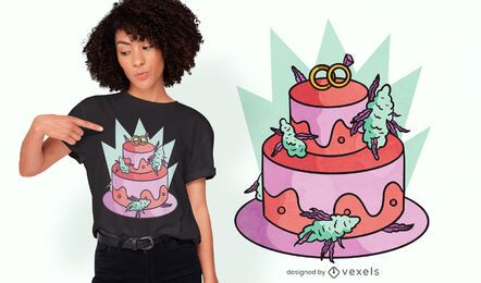 Diseño de camiseta de pastel de bodas de cannabis.