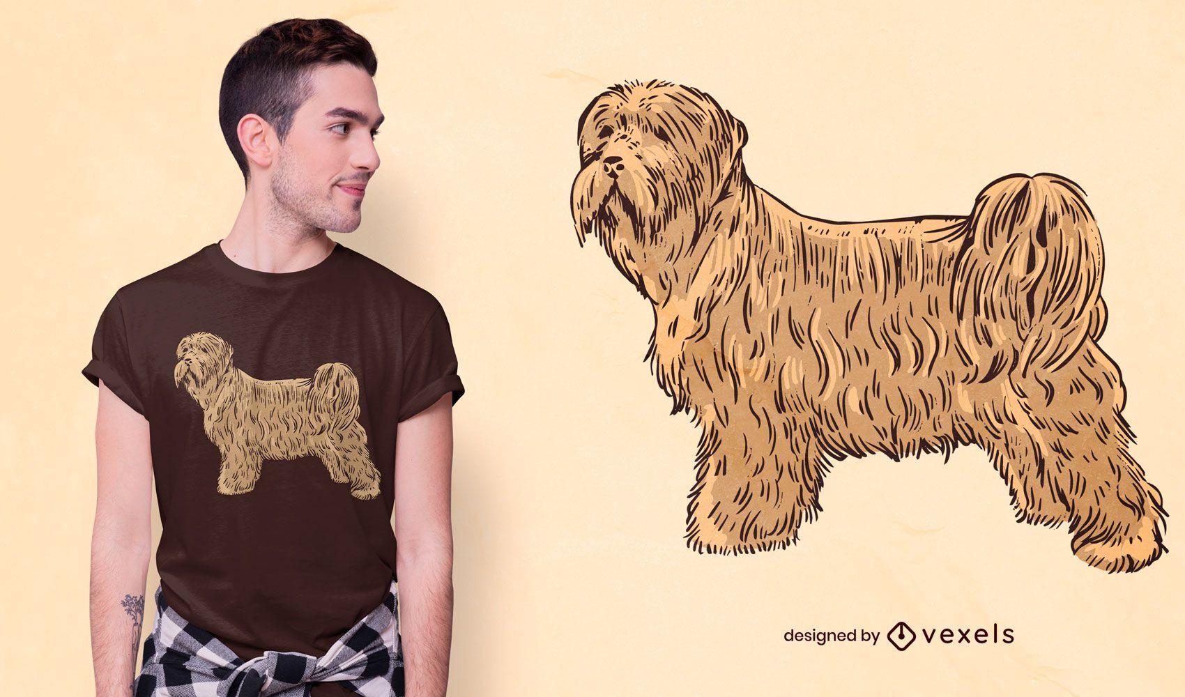 Terrier dog hand-drawn t-shirt design