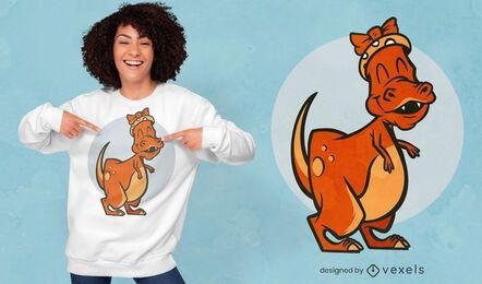 Design de camiseta com dinossauro t-rex feminino feliz