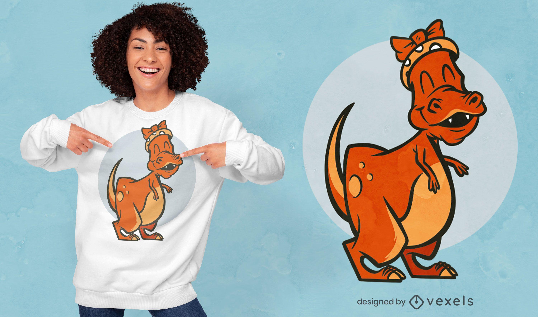 Happy female t-rex dinosaur t-shirt design
