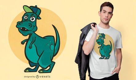 Diseño de camiseta de dinosaurio t-rex masculino feliz