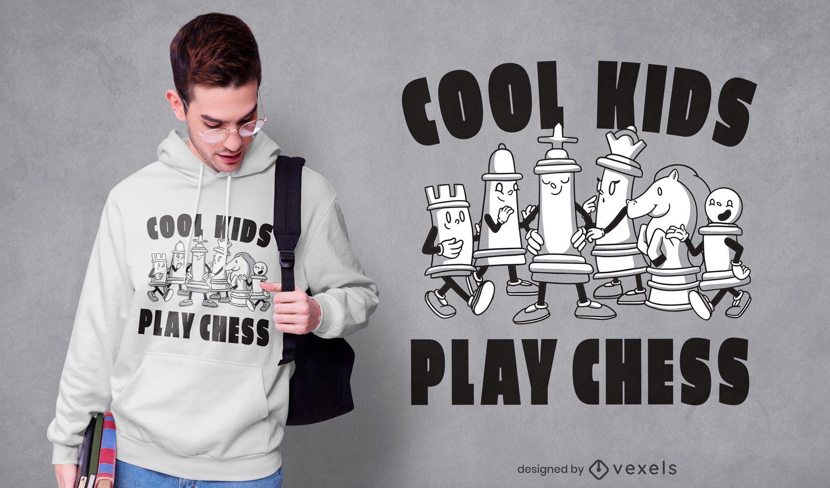 Diseño de camiseta de personajes de juego de ajedrez.