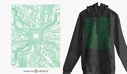 Design de t-shirt da placa de circuito do computador