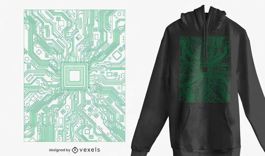 Computer circuit board t-shirt design