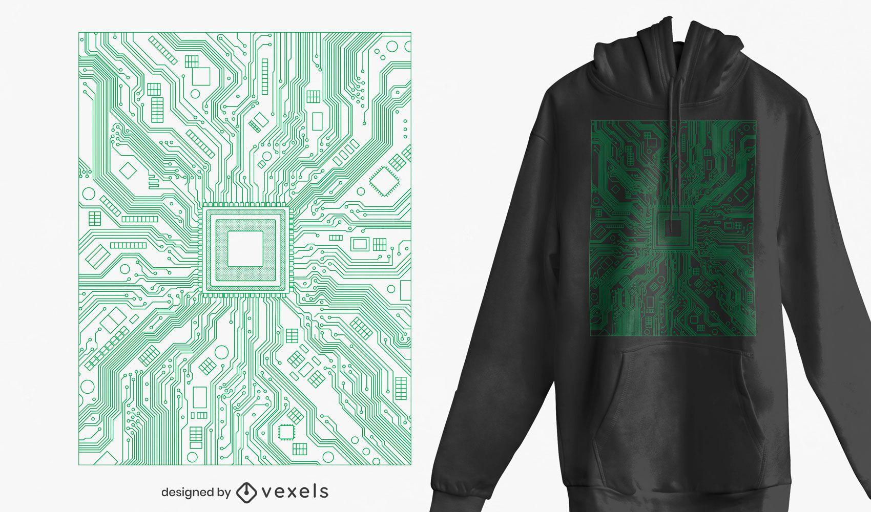 Diseño de camiseta de placa de circuito de computadora.