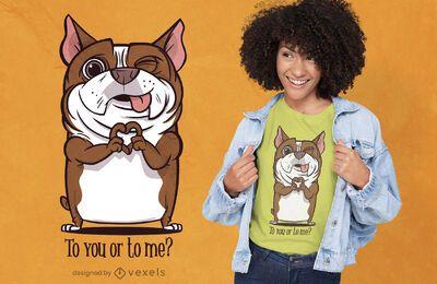 Diseño de camiseta de corazón de mano de perro