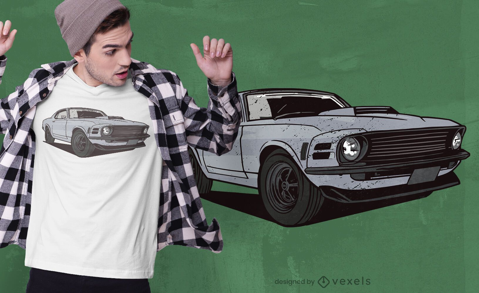 Diseño de camiseta de vehículo musculoso.