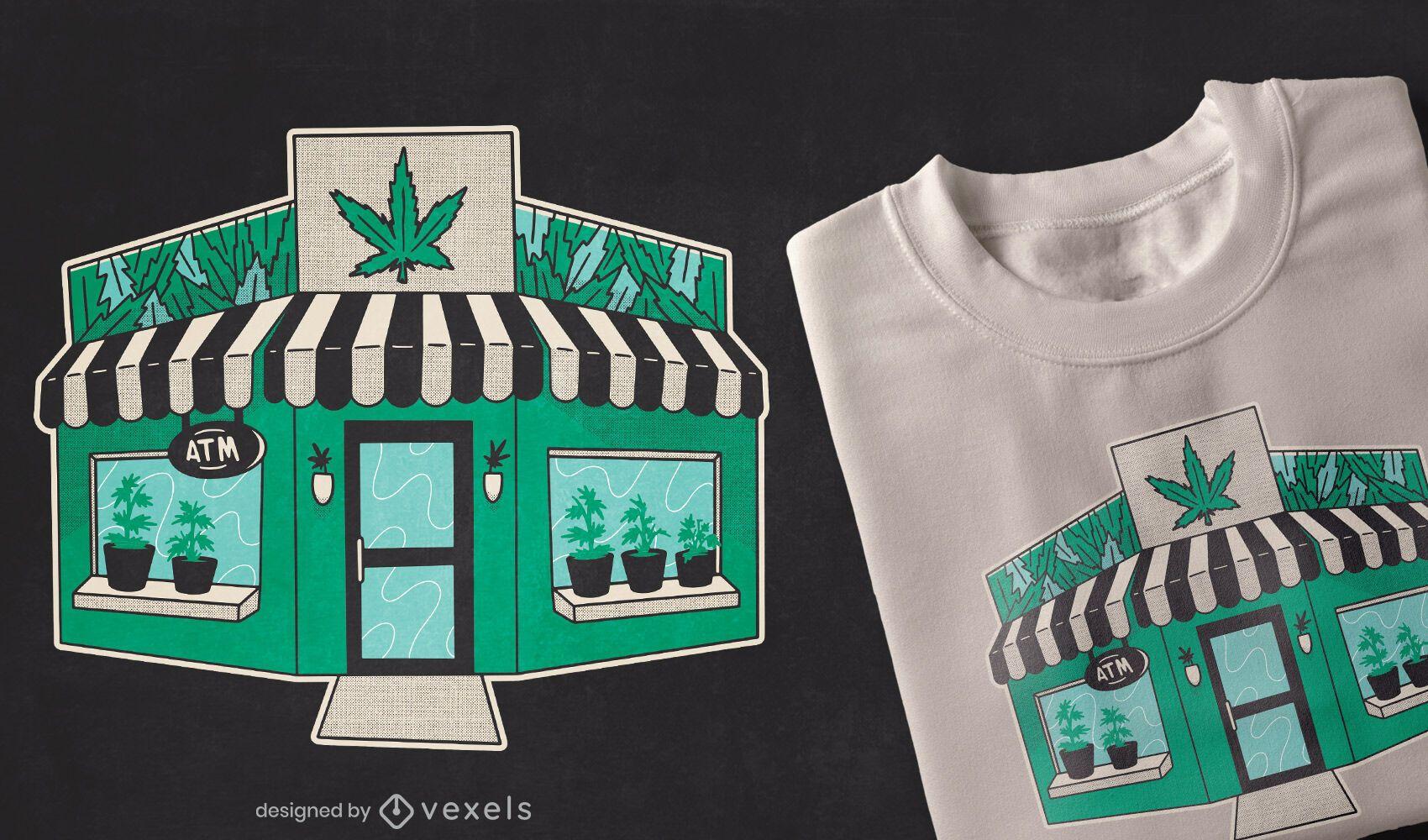 Diseño de camiseta de marihuana Grow Shop.