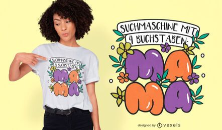Diseño de camiseta de cita alemana del día de la madre.
