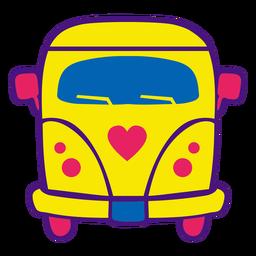 Color stroke hippie yellow van