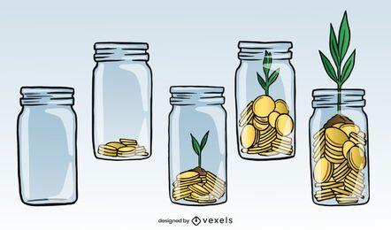Ilustración de ahorro de crecimiento de dinero