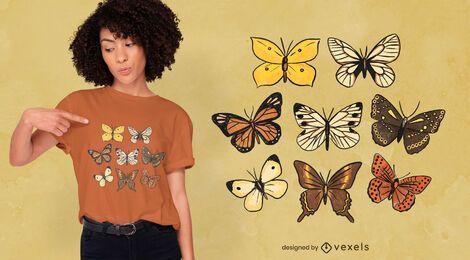 Diseño de camiseta de especies de mariposas.
