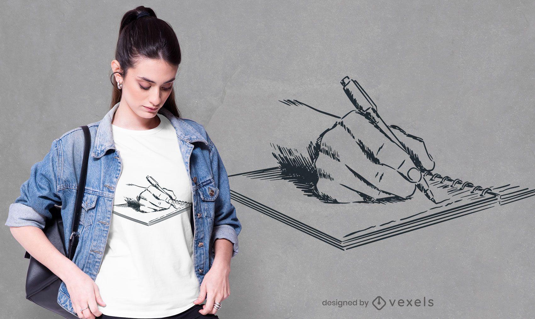 Desenho de t-shirt escrito à mão