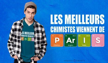 Diseño de camiseta de químicos de París.