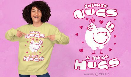 Mamá abraza el diseño de la camiseta del pollito