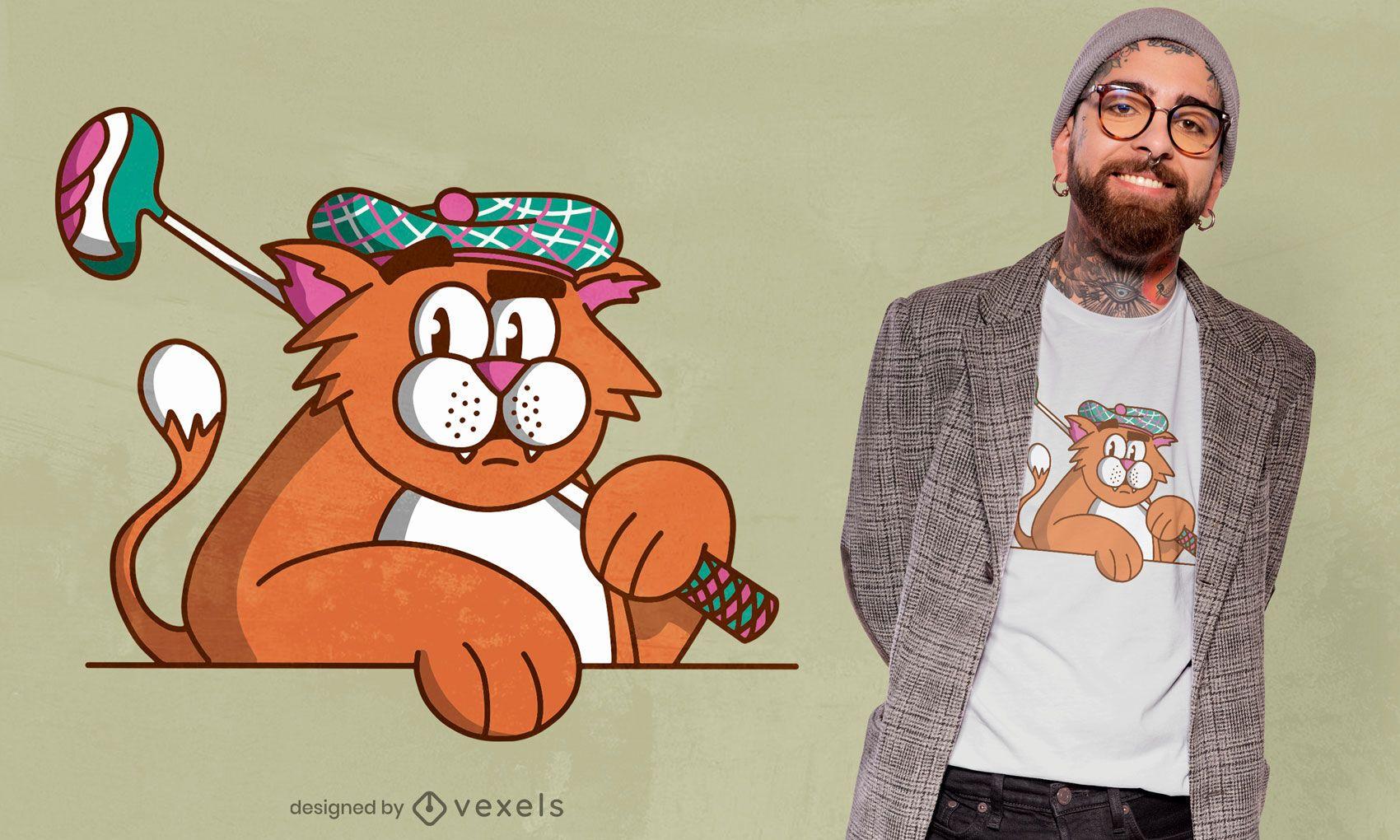 Design de t-shirt de gato de golfe