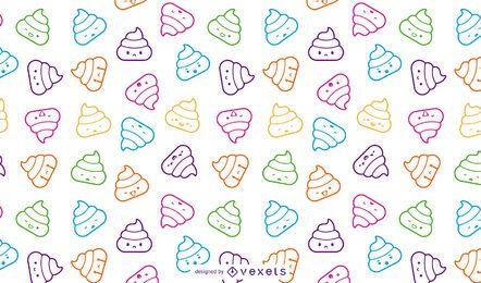 Padrão de emoji de cocô fofo