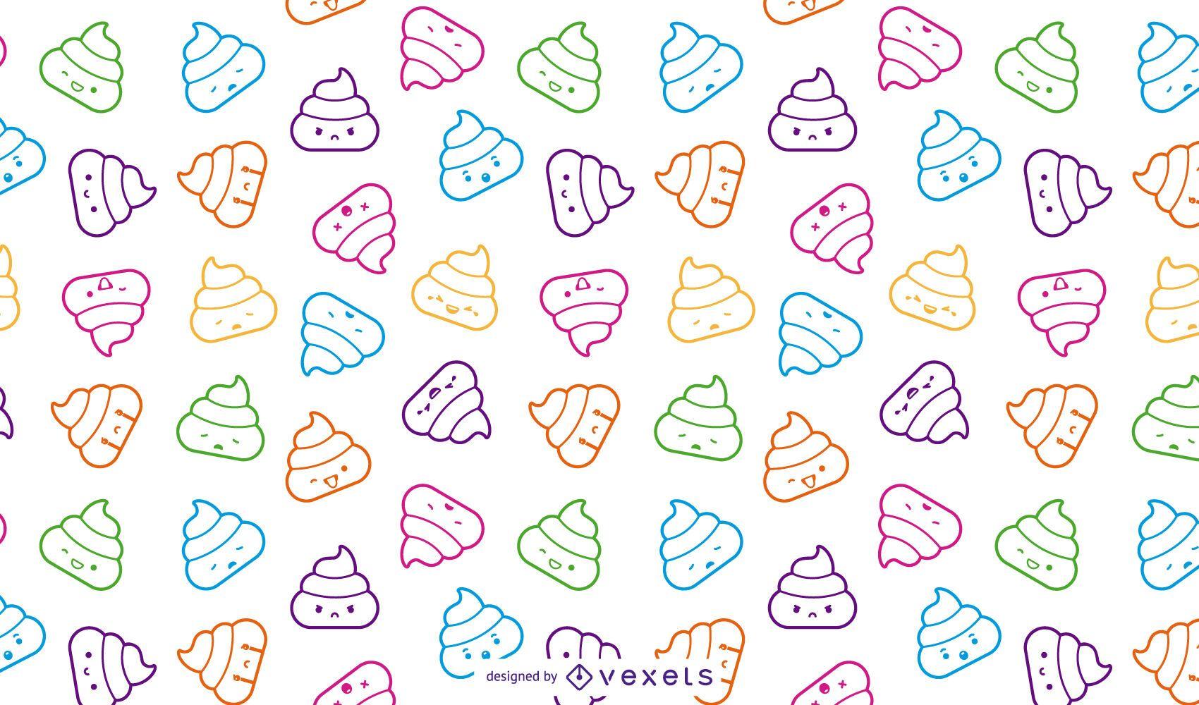Lindo patrón de emoji de caca