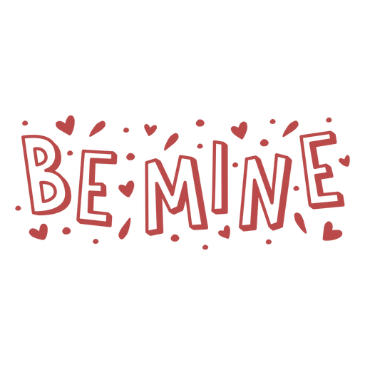 Be mine lettering hearts badge