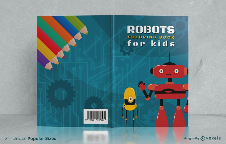 Diseño de portada de libro para colorear de robots