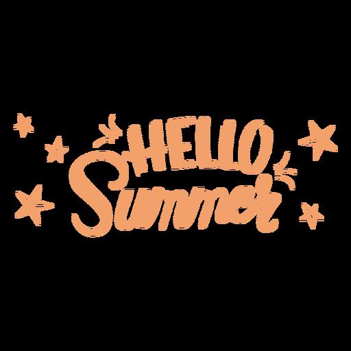 Hello summer lettering badge