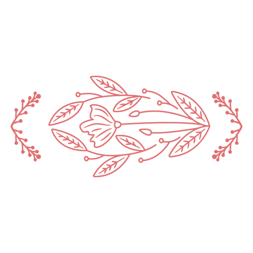 Simple stroke flower and leaves banner