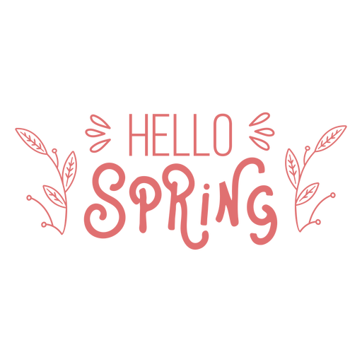 Hello spring lettering text badge
