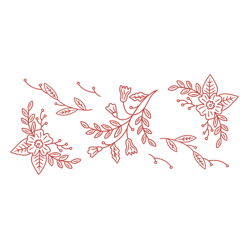 Simple stroke floral ornaments swirls banner