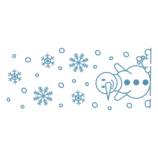 Snowman and snowflakes banner stroke