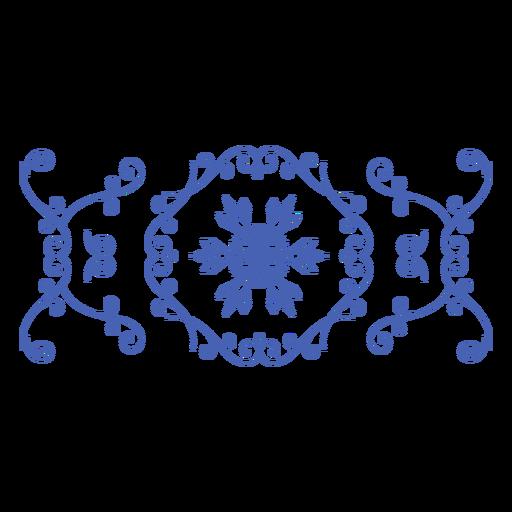 Snowflake banner swirls thin stroke