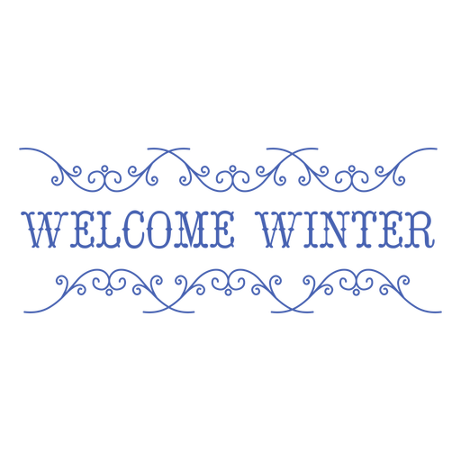 Welcome winter flat text badge