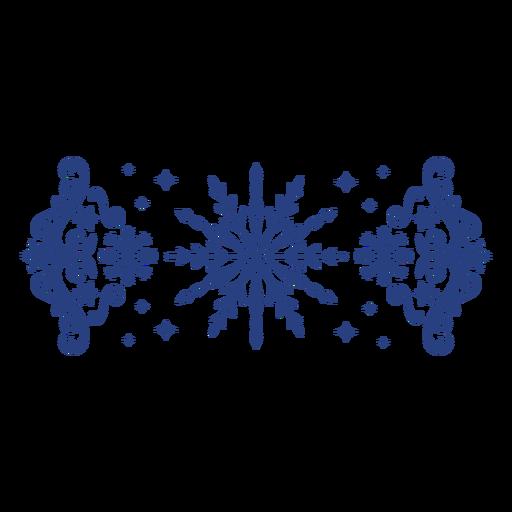 Snowflake banner thin stroke swirls