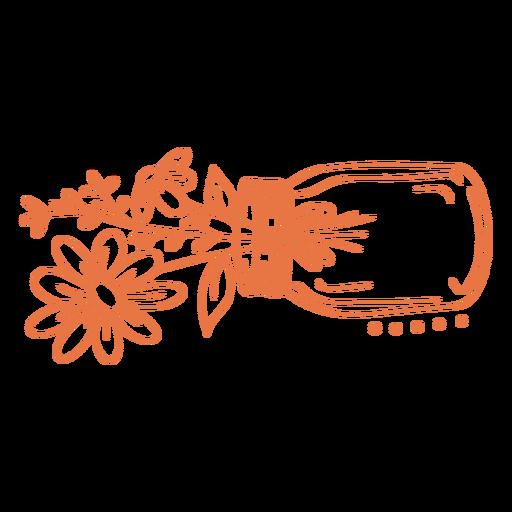 Hand drawn flowers in jar