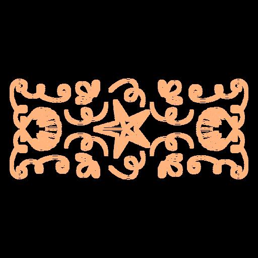 Starfish and clam shells swirls banner