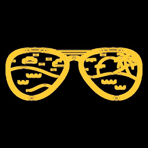 Stroke aviator sunglasses reflecting sunset