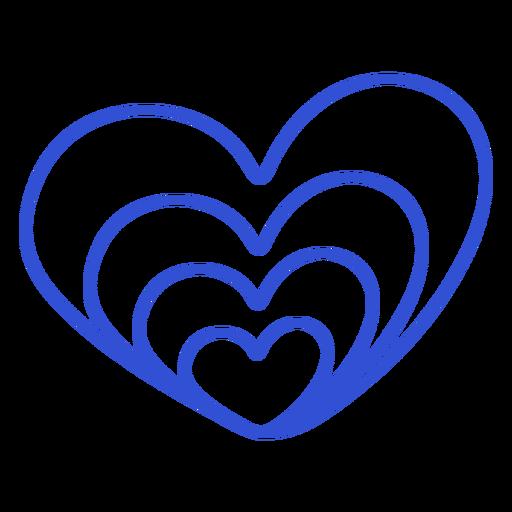 Hearts inside of heart simple stroke