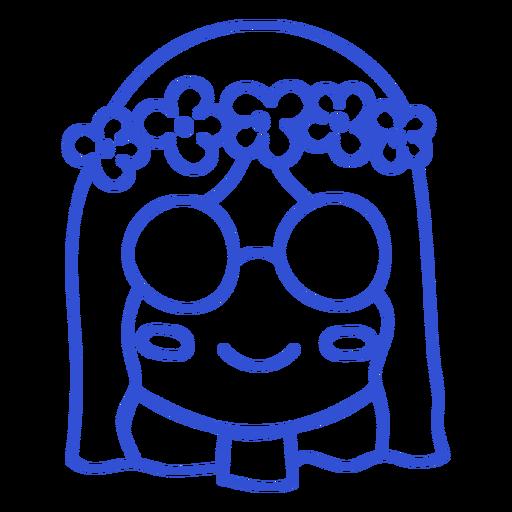 Simple stroke hippie girl head
