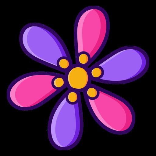 Six petals simple color stroke flower