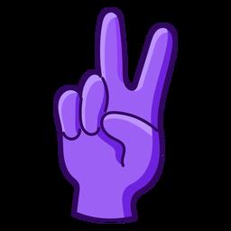 Color stroke V sign hand
