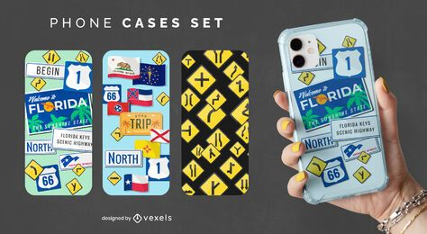 Road signs phone case set