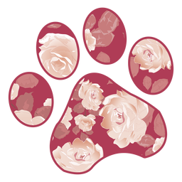 Paw filled with red rose pattern