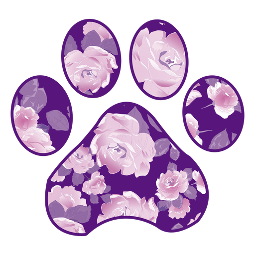 Paw filled with purple rose pattern