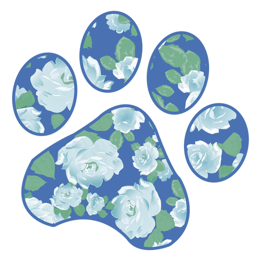 Paw filled with blue rose pattern